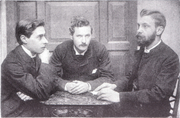 Author photo. Platinum print photographic portrait of Bowyer Nichols, J. W. Mackail, and H. C. Beeching, c. 1882