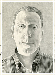 Author photo. Portrait of David Anfam. Pencil on paper by Phong Bui.