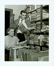 Author photo. Jay Luvaas while at Duke University Library, 1954 (with Mattie Russell, curator of manuscripts) [credit: Duke University Archives]