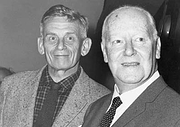 Author photo. Kenneth Slessor (at right) with Ronald McCuaig on 3 January 1949