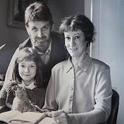 Author photo. With husband Allan and daughter Jessica (1989)