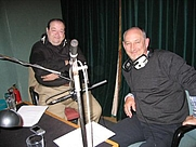 Author photo. Rob Grant and Doug Naylor recording DVD commentaries