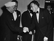 Author photo. Prime Minister of India Jawaharlal Nehru (left) greets Philip Jessup, October 1949. (trumanlibrary.org)