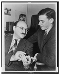 Author photo. James Yaffe (right) <BR>Photo by Al Aumuller, New York World-Telegram & Sun Newspaper Photograph Collection (Library of Congress)