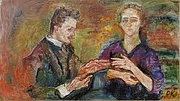 Author photo. with husband Hans Tietze. Portrait by Oskar Kokoschka (1909)