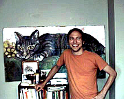 Author photo. James Kochalka at home in Burlington, Vermont; August, 2000. Photo by Alan David Doane.