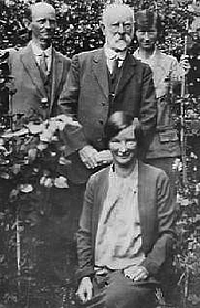 Author photo. A young Anne Treneer (seated) with her father & sister Susan. Undated photo.