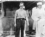 Author photo. Battle off Santiago, 3 July 1898: Naval Cadet William D. Leahy (center) and Captain Charles Edgar Clark (right) on board USS Oregon during the action.