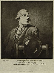 Author photo. Half-length portrait of French balloonist Joseph Montgolfier, with a glass chamber related to his experiments with gas for balloon flight: Library of Congress Prints and Photographs Division