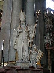 Author photo. Statue of St. Basil the Great, St. Nicholas Church, Malá Strana, Prague. Photo by user Kostisl / Wikimedia Commons.