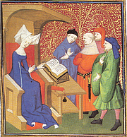 """Author photo. Christine de Pizan lecturing men. <a href=""""http://bcm.bc.edu/issues/winter_2010/endnotes/an-educated-lady.html"""" rel=""""nofollow"""" target=""""_top"""">http://bcm.bc.edu/issues/winter_2010/endnotes/an-educated-lady.html</a>"""