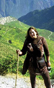Author photo. Kathy Doore on the trail to the Markawasi Stone Forest, Peru.