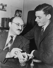 """Author photo. Frederic Dannay (left, one half of """"Ellery Queen"""") with James Yaffe, World Telegram & Sun photo by Al Aumuller, 1943 (Library of Congress Prints and Photographs Division, LC-USZ62-126102)"""