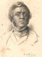 """Author photo. Frontispiece to Works of Wiliam Makepiece Thackeray Vol. 6 (1898) """"From a Drawing by Samuel Lawrence"""""""