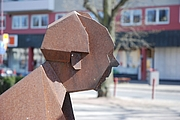 Author photo. Writer Alf Henrikson. Detail of sculpture in CORTEN steel by Thomas Qvarsebo from 1998, located in Huskvarna, Sweden. Photo: Bengt Oberger