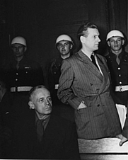 Author photo. (<b>right</b>) with Joachim von Ribbentrop at the International Military Tribunal trial of war criminals at Nuremberg, circa 1945-1946.