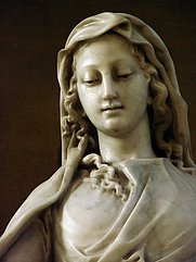 Author photo. Statue of the Virgin in Marble, St. Stephen's Chruch, Nancy, France. Photo by user Vassil / Wikimedia Commons.