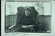 Author photo. Portriat of Denise Levertov taken by Elsa Dorfman on Flagg St, Cambridge, MA