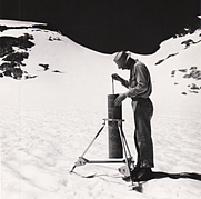 Author photo. Wendell Tangborn on South Cascade Glacier/ Photo by Mark Meier