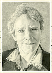 Author photo. Eleanor Heartney. Pencil on paper by Phong Bui