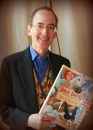 Author photo. Paul O. Zelinsky with his latest book, Dust Devil, at the 2010 Baltimore Book Festival. ©2010