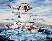Author photo. <b>Teamwork</b> by Ralph Starr: Coast Guard units come to the aid of a fishing boat in trouble off Alameda, California. (cgvi.uscg.mil)