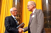 """Author photo. Daniel Walker Howe, on right.  Columbia University. <A HREF=""""http://www.pulitzer.org/citation/2008,History""""> pulitzer.org</A>"""