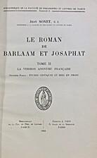 Le Roman de Barlaam et Josaphat, tome II, la…
