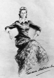 Author photo. Drawing of Tatiana in 1914