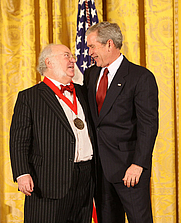 Author photo. Myron Magnet receiving the 2008 National Humanities Medal.  White House photo by Chris Greenberg.