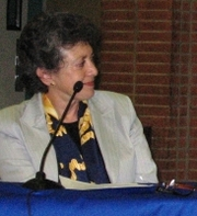 Author photo. Susan Forrest 06-02-09 Stonewall Anniversary History panel, City of West Hollywood.