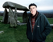Author photo. Aubrey Manning at Pentre Ifan for BBC's Talking Landscapes, 2001.