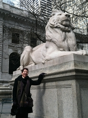Author photo. Visiting the NYPL on a trip to Manhattan, saying hello to Patience and Fortitude.