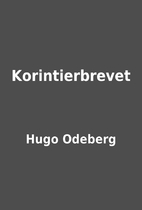 Korintierbrevet by Hugo Odeberg