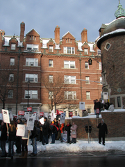 """Author photo. WGA strike supporters outside Harvard Lampoon building, Harvard Square, November 2007; photo by <A HREF=""""http://www.flickr.com/people/sushiesque/"""">sushiesque</A>"""