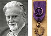 Author photo. Professor James Knowlson, and the Chevalier des Palmes Académiques medal