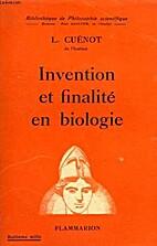 Invention et finalité en biologie by…