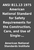 ANSI B11.13 1975 American National Standard…