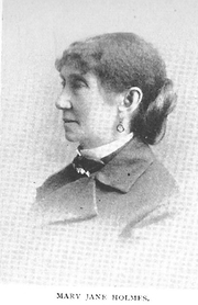 Author photo. Mary Jane Hawes Holmes (1825 or 1828-1907), Buffalo Electrotype and Engraving Co., Buffalo, N.Y.