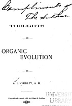Thoughts on organic evolution by Albert…