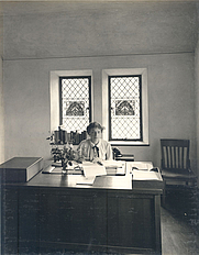 Author photo. Margaret B. Freeman(1899–1980) in her office at The Cloisters in 1938.
