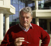 Author photo. March 2003: David Irving at 65 photograph outside Public Records office (National Archives) London
