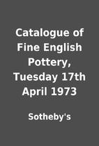 Catalogue of Fine English Pottery, Tuesday…