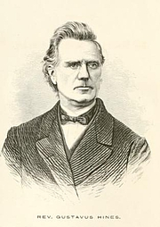 Author photo. Reverend Gustavus Hines. Frontispiece from Oregon and its institutions; comprising a full history of the Willamette University, the first established on the Pacific Coast (1868)