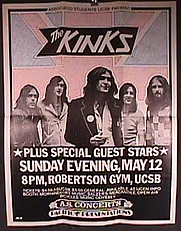 Author photo. The Kinks at the University of California at Santa Barbara. May 12, 1974.