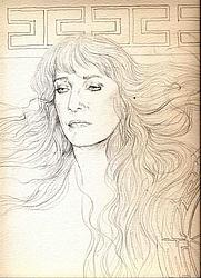 Author photo. Portrait by friend, award winning Spanish illustrator Angel Dominguez,