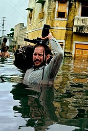 Author photo. Steve McCurry in monsoon waters