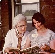 Author photo. Adele Cahlander on left with woven neckpiece.