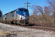 Author photo. Capitol Limited slowing for a stop in Harper's Ferry, January 2008; photo by John Mueller