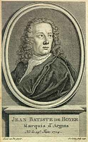 """Author photo. The Hague edition (1742) of his """"Lettres juives"""""""